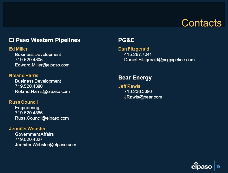 Contacts El Paso Western Pipelines PG&E Bear Energy Ed Miller