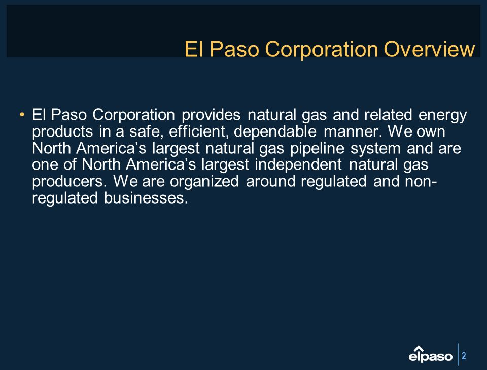El Paso Corporation Overview
