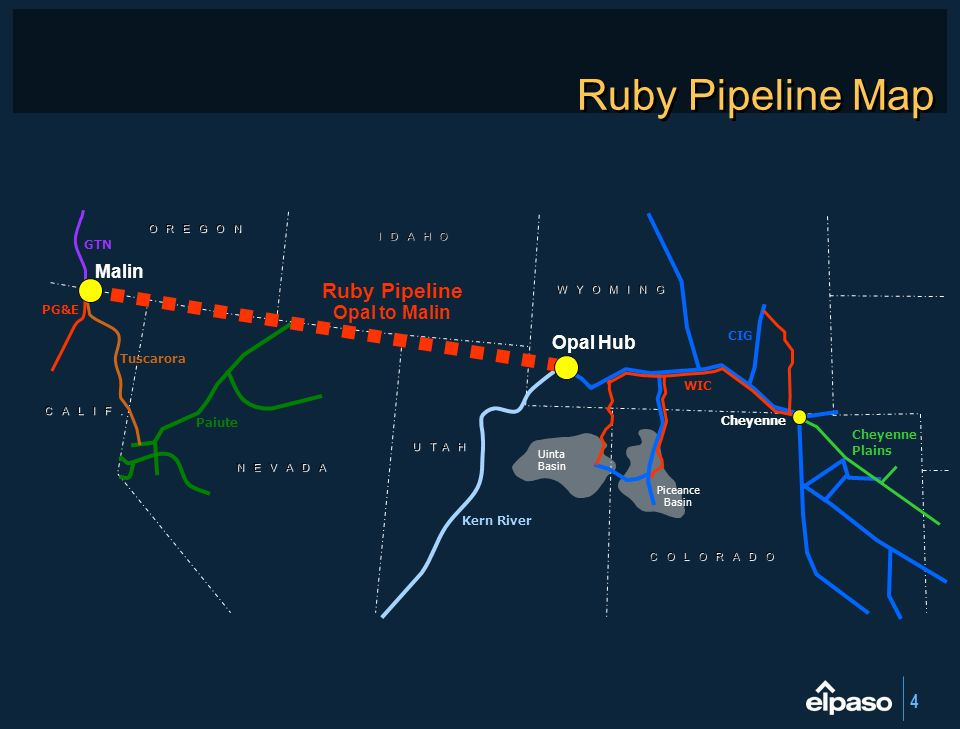 Ruby Pipeline Map Ruby Pipeline Malin Opal to Malin Opal Hub GTN PG&E