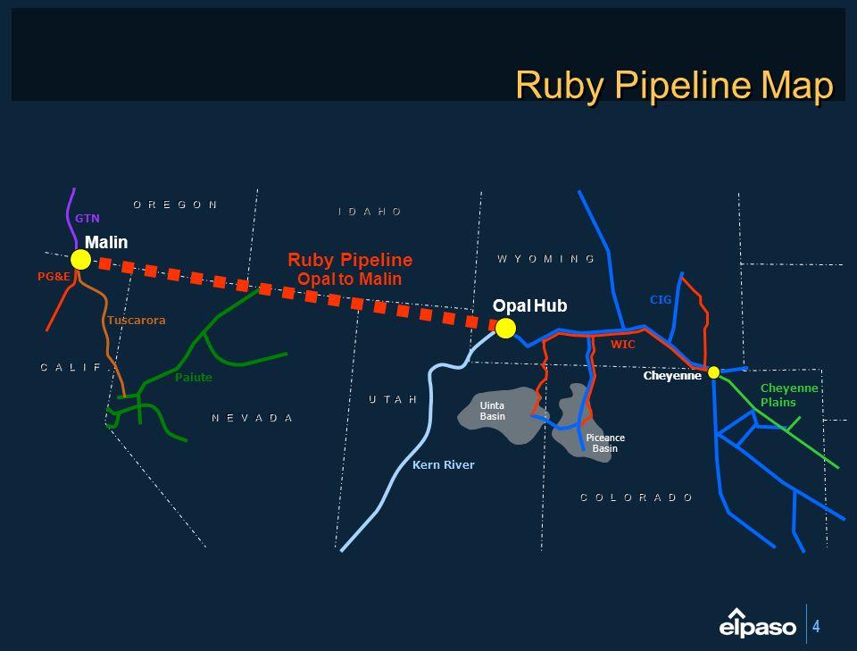 Ruby Pipeline Map Ruby Pipeline Malin Opal to Malin Opal Hub GTN PG&E