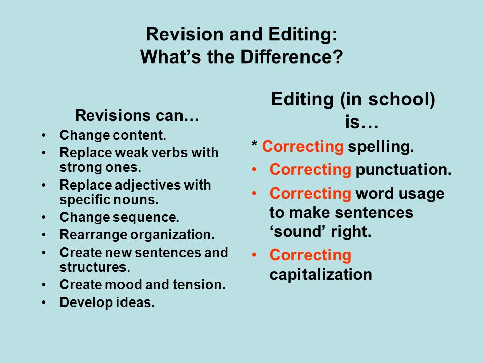 Revision and Editing: What's the Difference