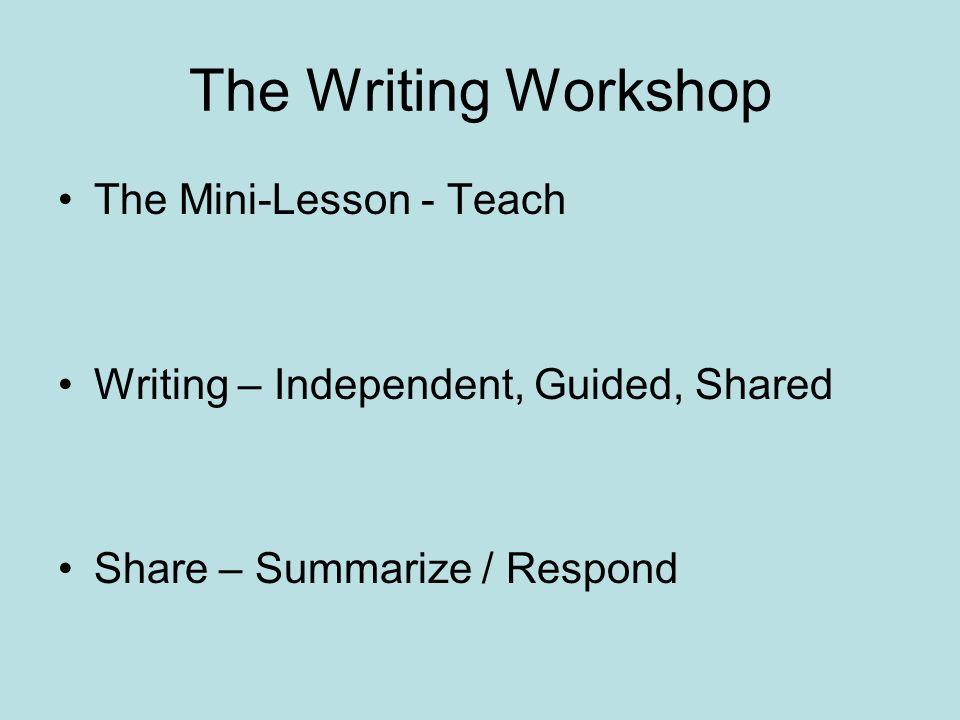 The Writing Workshop The Mini-Lesson - Teach
