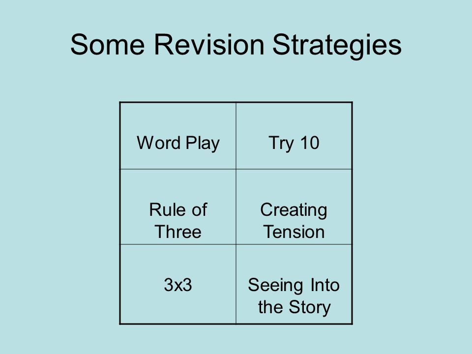 Some Revision Strategies