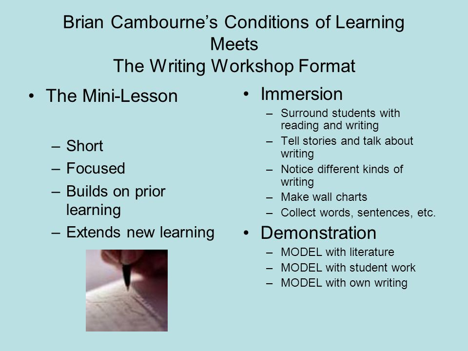 Brian Cambourne's Conditions of Learning Meets The Writing Workshop Format