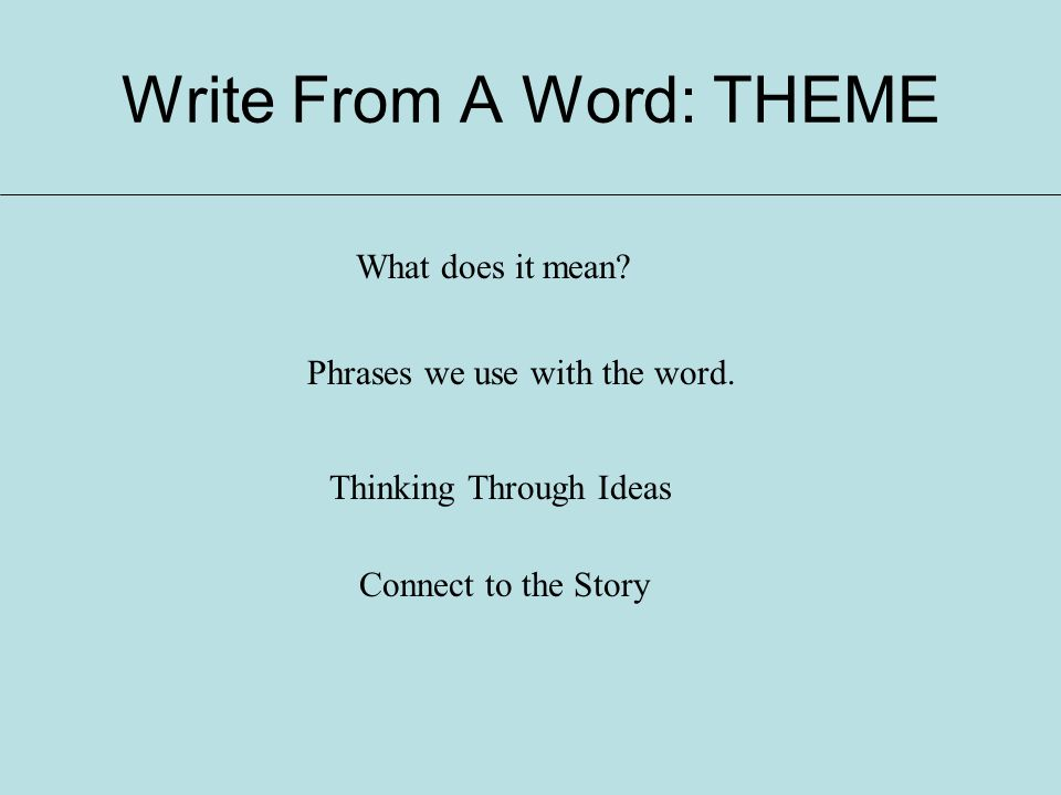 Write From A Word: THEME