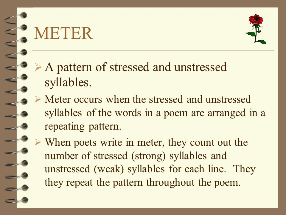 METER A pattern of stressed and unstressed syllables.