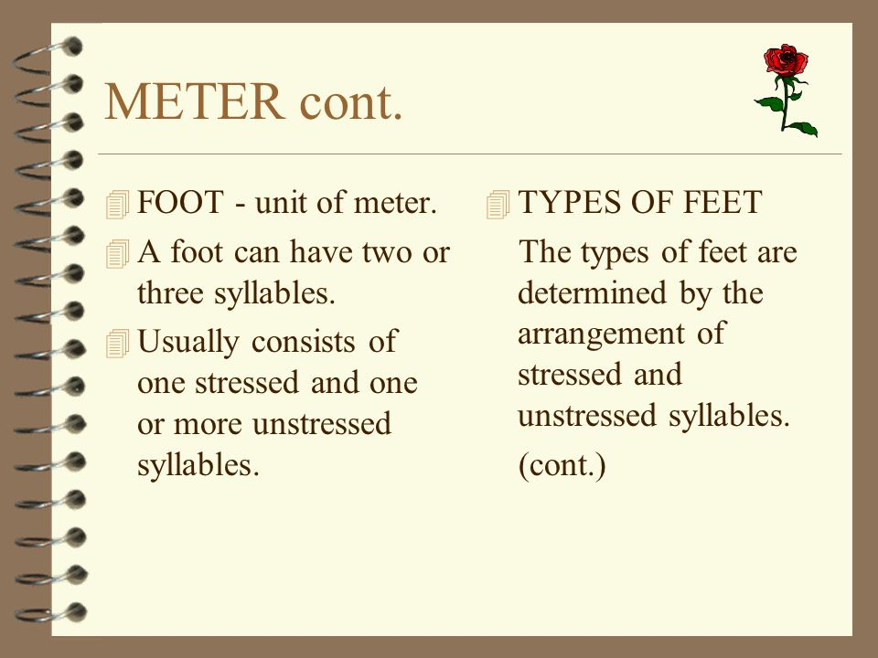 METER cont. FOOT - unit of meter.