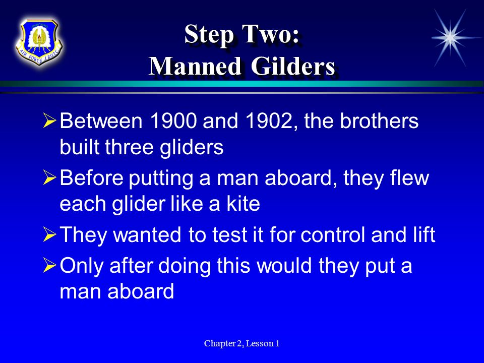 Step Two: Manned Gilders