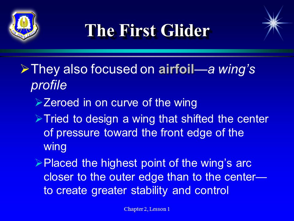 The First Glider They also focused on airfoil—a wing's profile