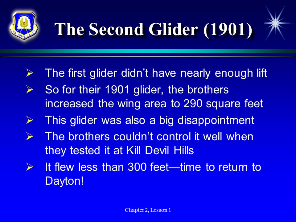 The Second Glider (1901) The first glider didn't have nearly enough lift.