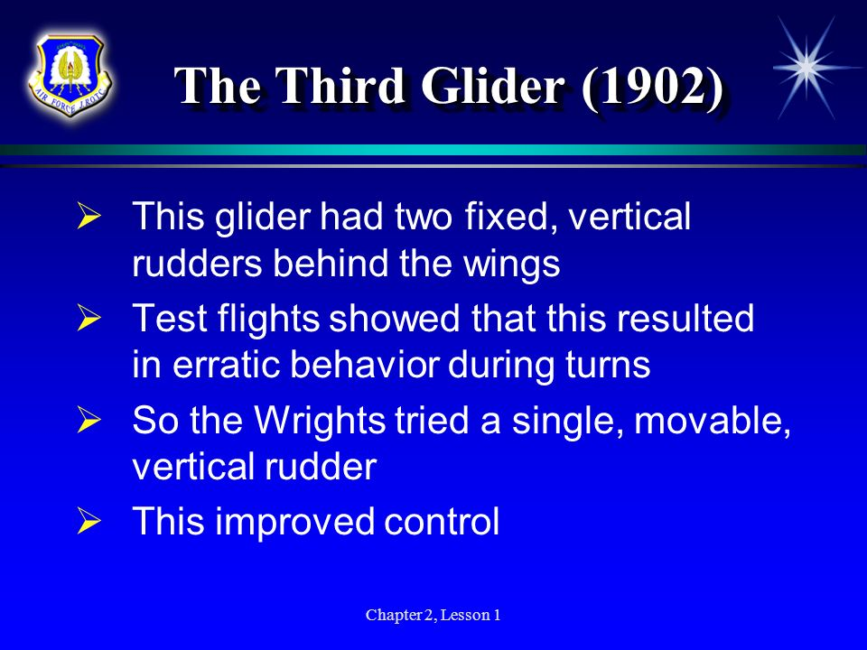 The Third Glider (1902) This glider had two fixed, vertical rudders behind the wings.