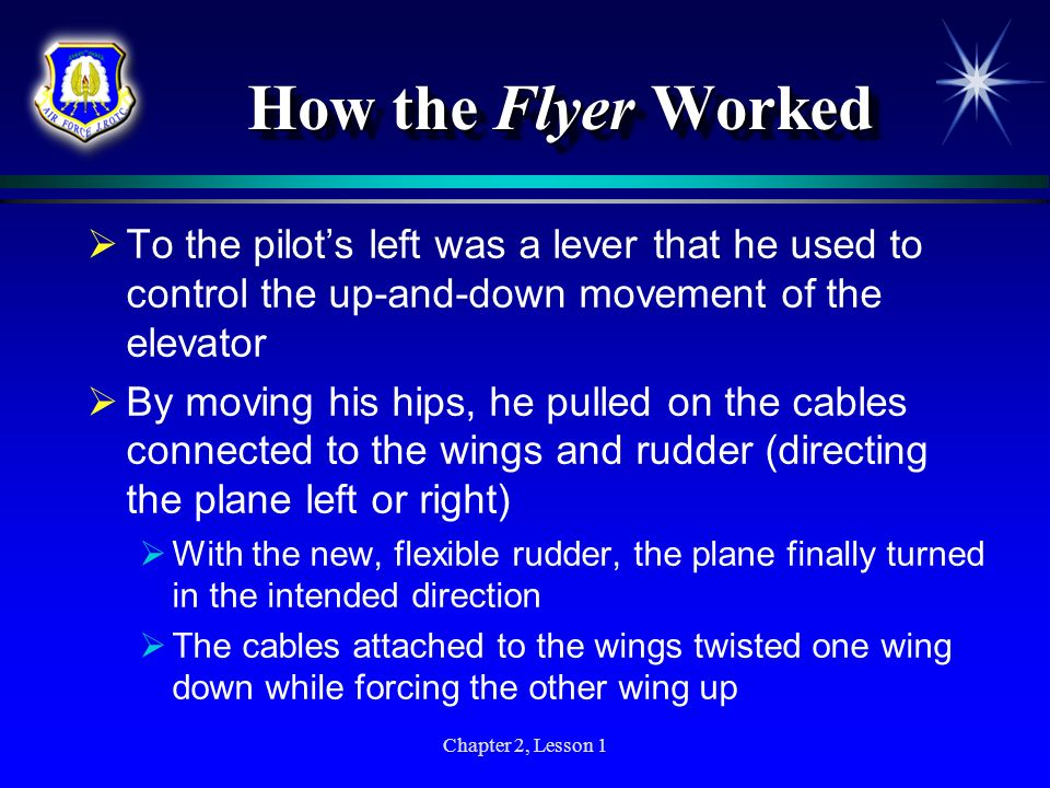 How the Flyer Worked To the pilot's left was a lever that he used to control the up-and-down movement of the elevator.