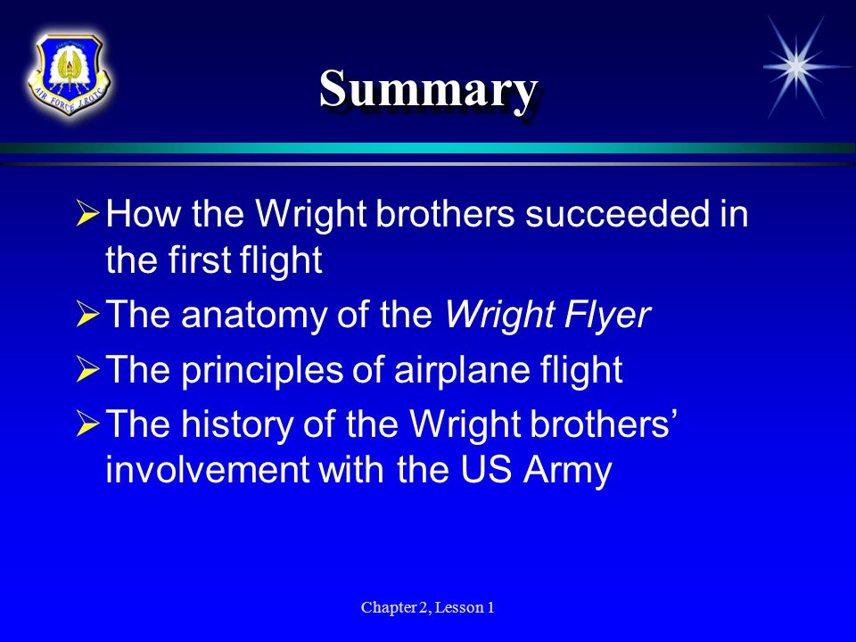 Summary How the Wright brothers succeeded in the first flight