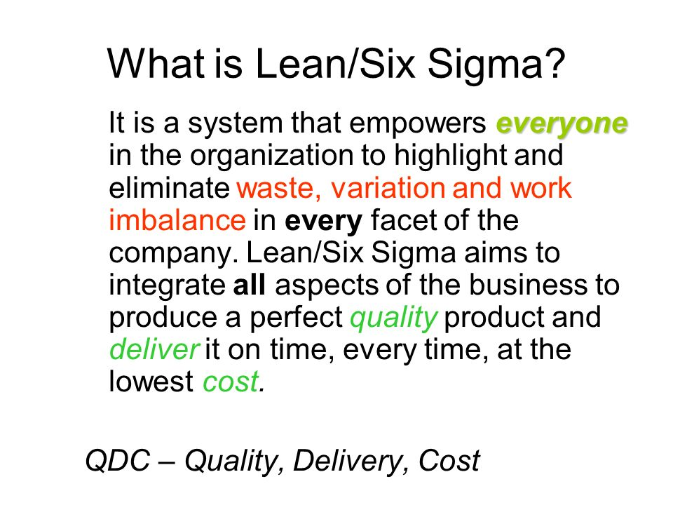 What is Lean/Six Sigma