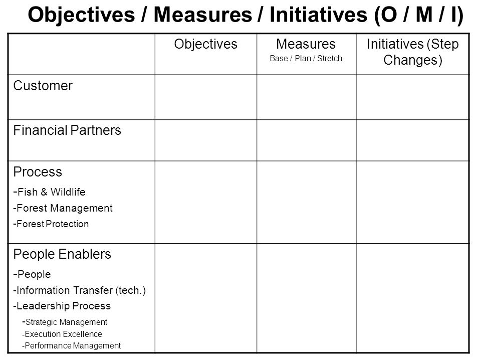 Objectives / Measures / Initiatives (O / M / I)