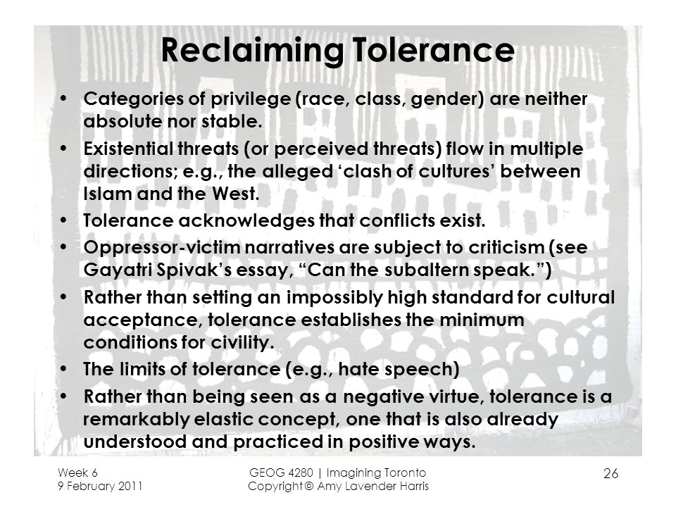 Reclaiming Tolerance Categories of privilege (race, class, gender) are neither absolute nor stable.