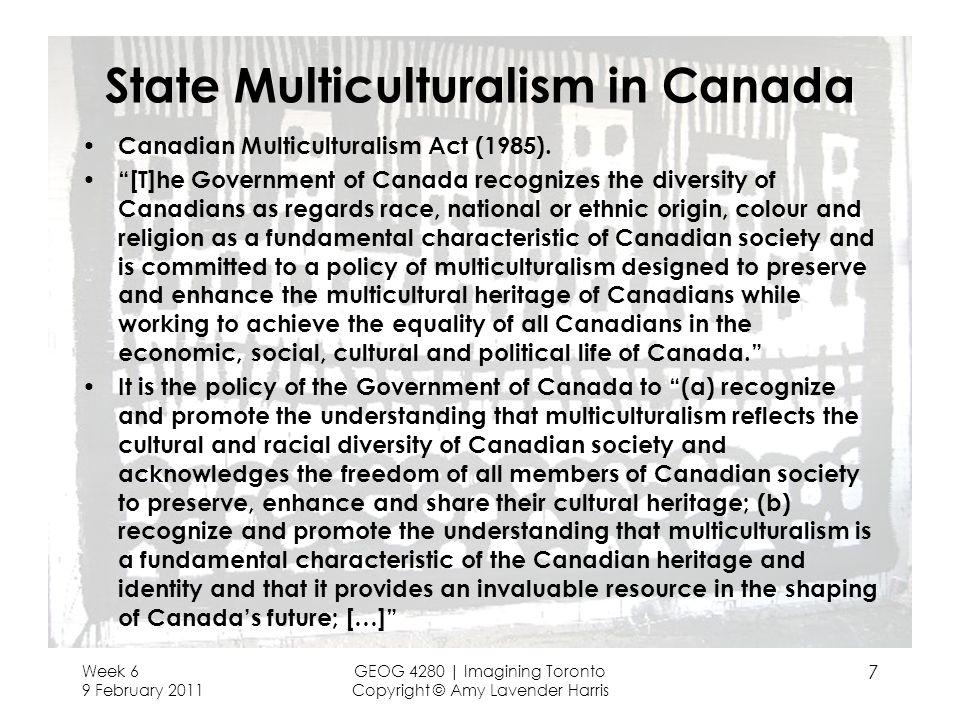 State Multiculturalism in Canada