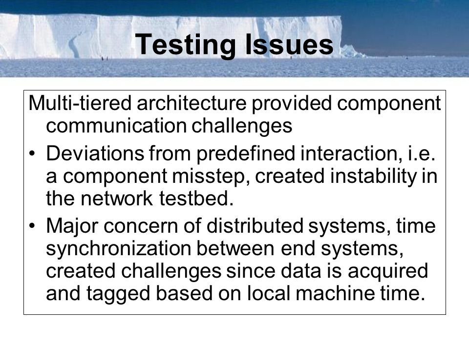 Testing Issues Multi-tiered architecture provided component communication challenges.