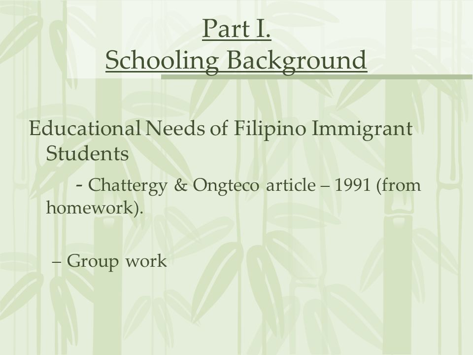 Part I. Schooling Background