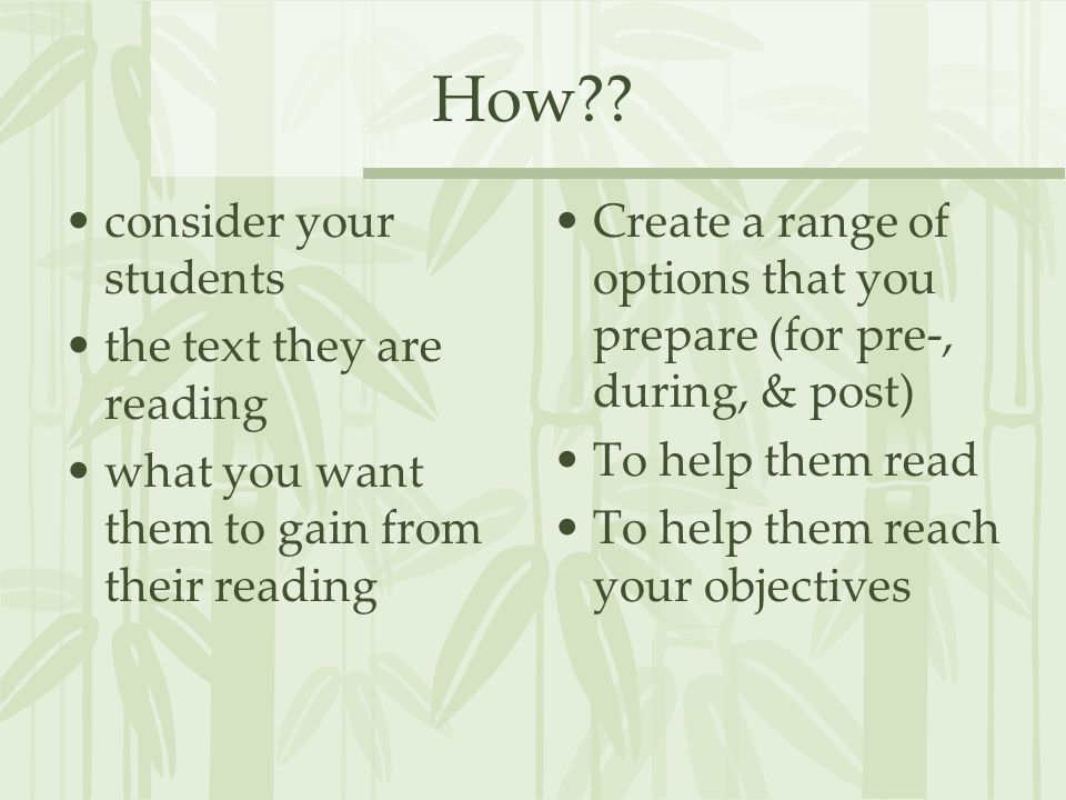 How consider your students the text they are reading
