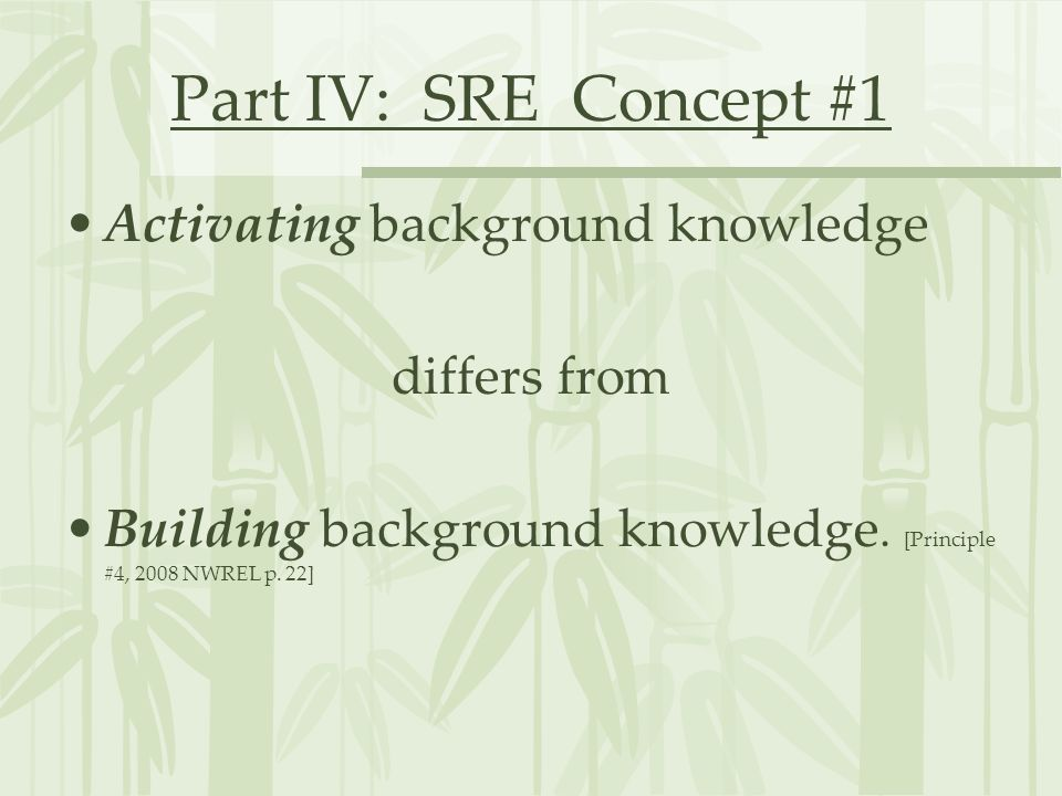 Part IV: SRE Concept #1 Activating background knowledge differs from