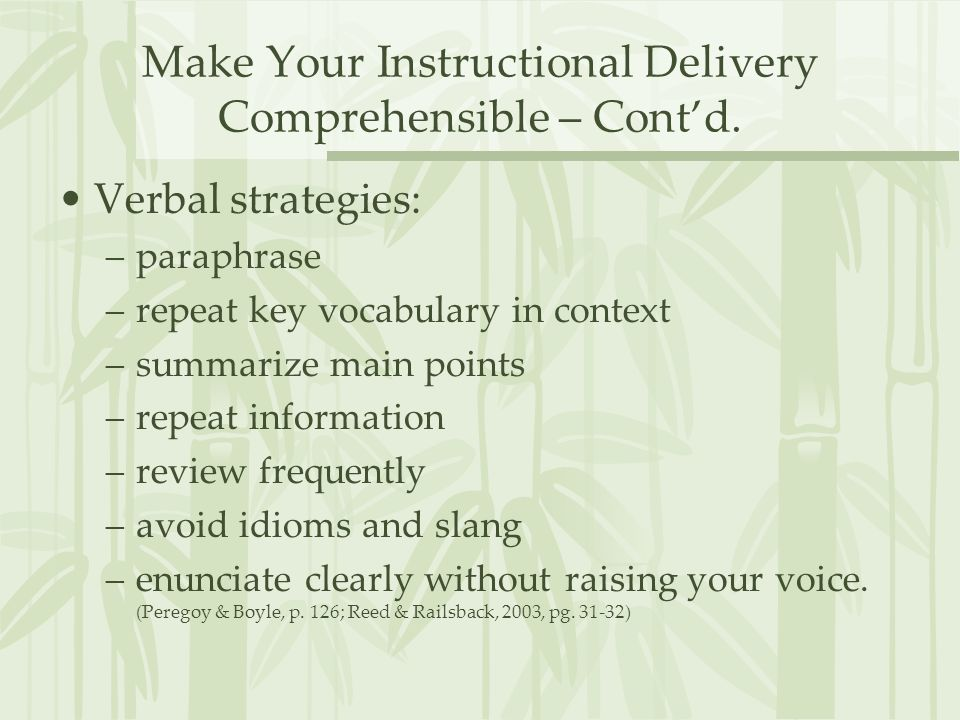 Make Your Instructional Delivery Comprehensible – Cont'd.