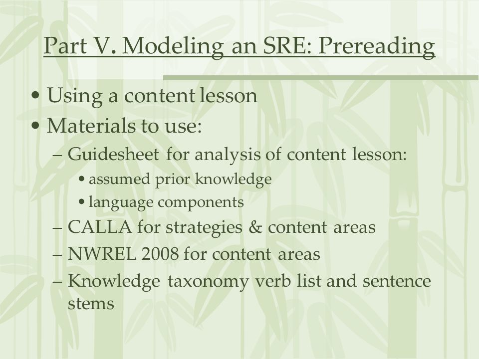 Part V. Modeling an SRE: Prereading