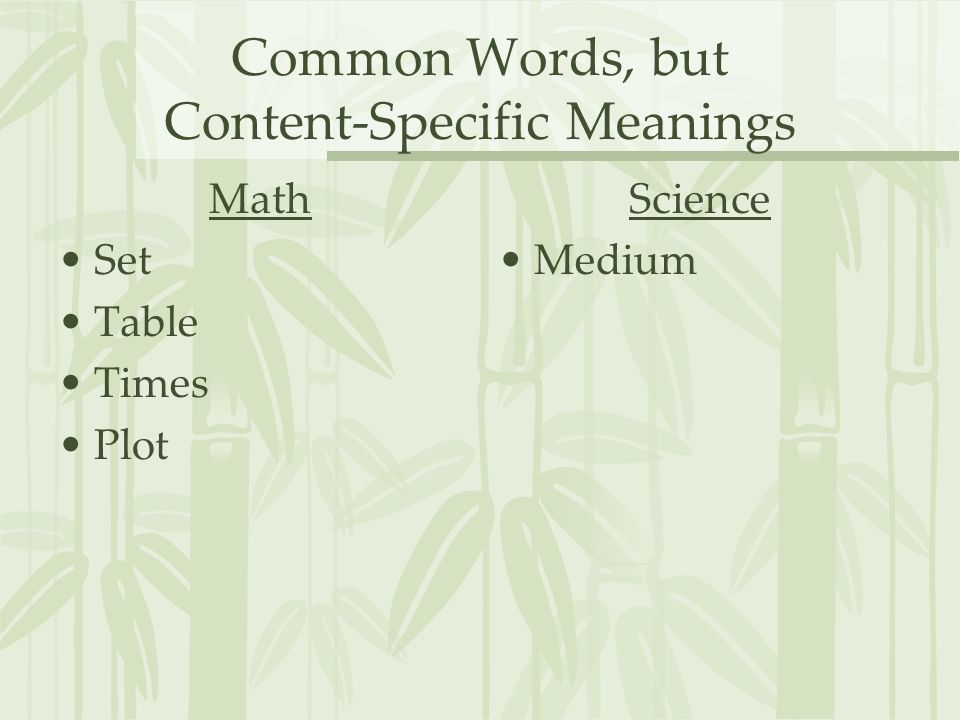 Common Words, but Content-Specific Meanings