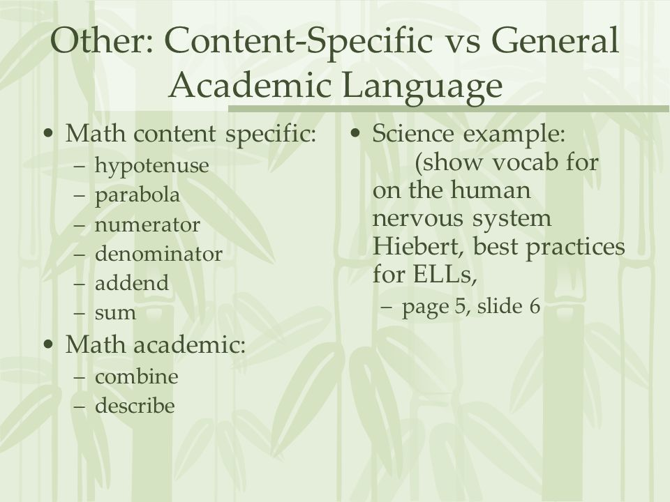 Other: Content-Specific vs General Academic Language