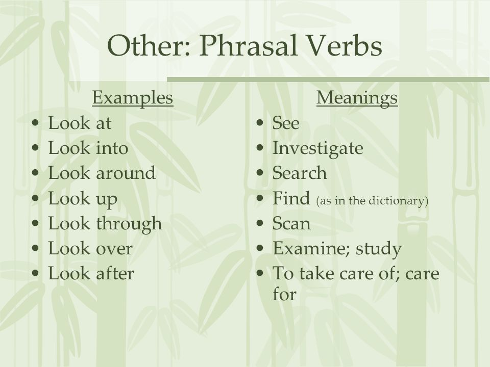 Other: Phrasal Verbs Examples Look at Look into Look around Look up