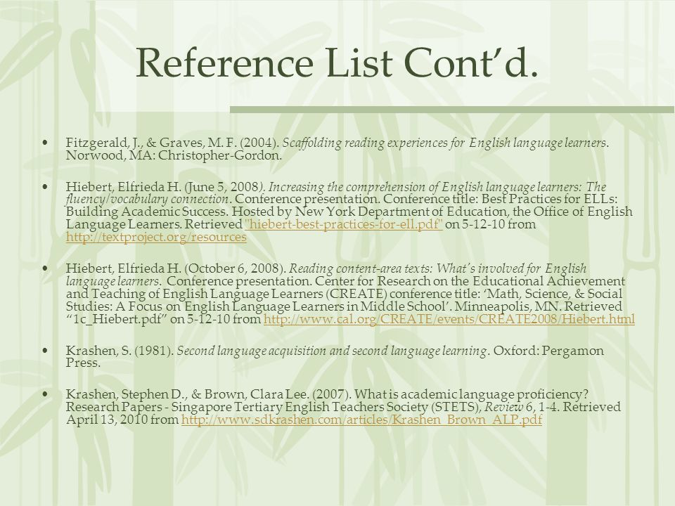 Reference List Cont'd.