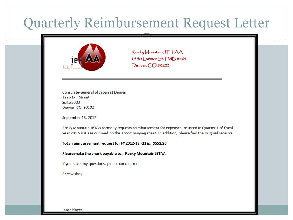 Quarterly Reimbursement Request Letter
