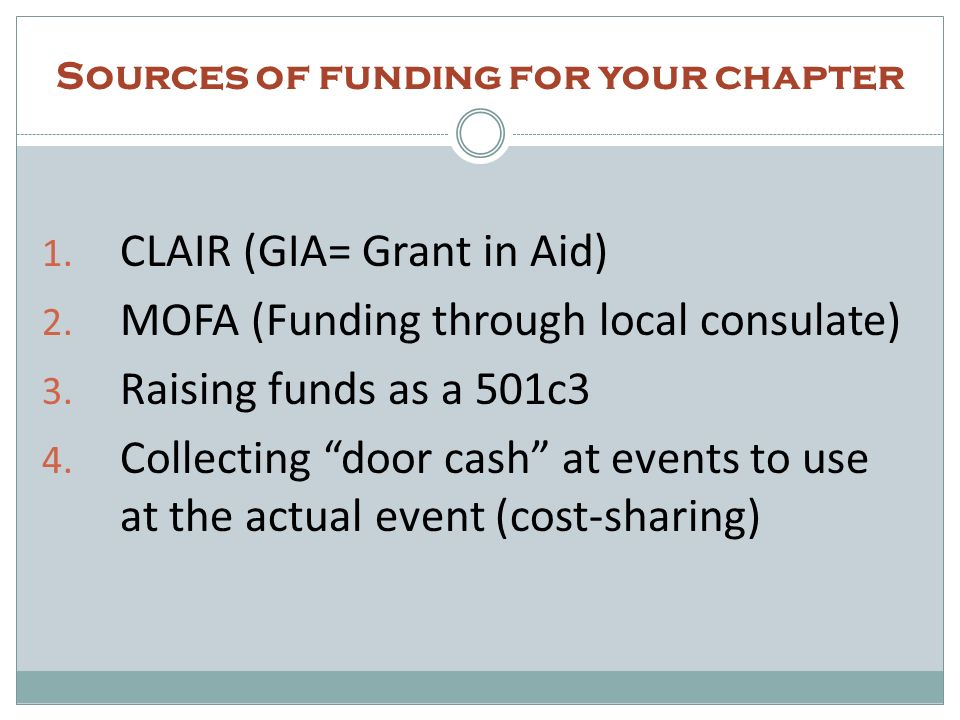 Sources of funding for your chapter