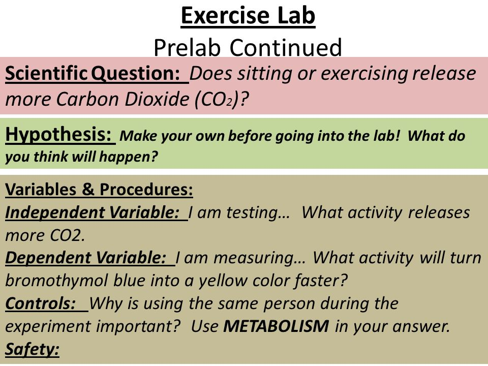 Exercise Lab Prelab Continued