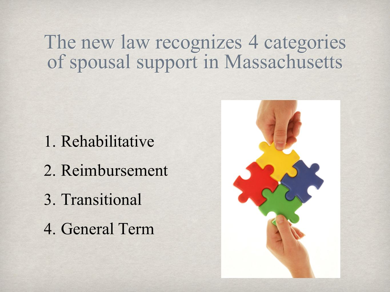 The new law recognizes 4 categories of spousal support in Massachusetts