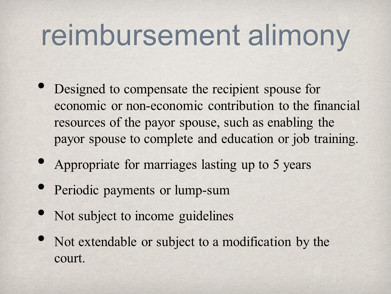 reimbursement alimony