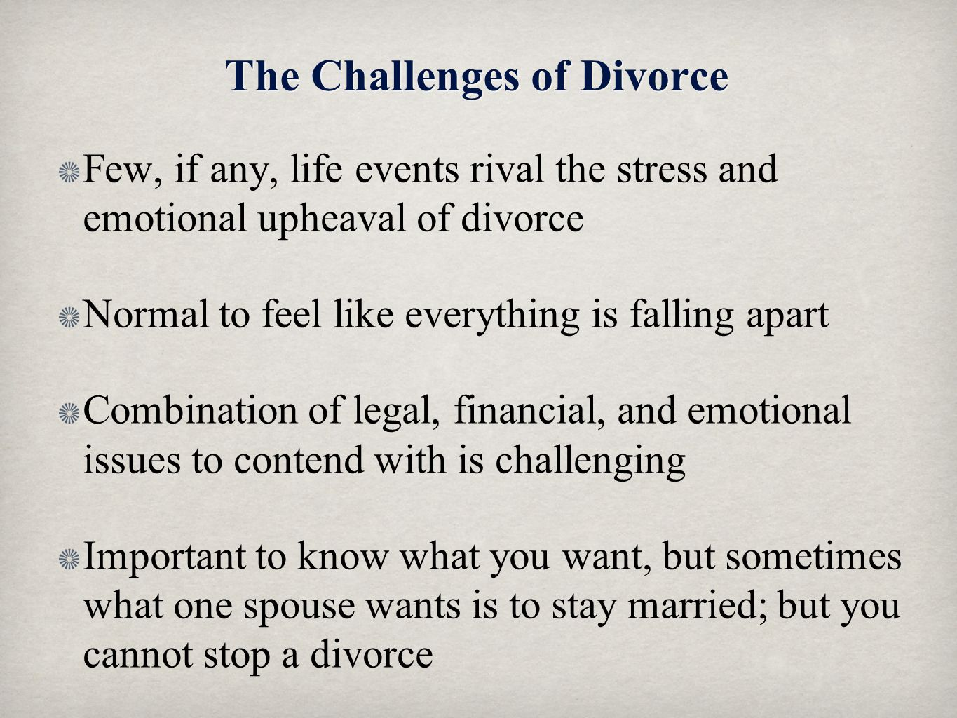 The Challenges of Divorce