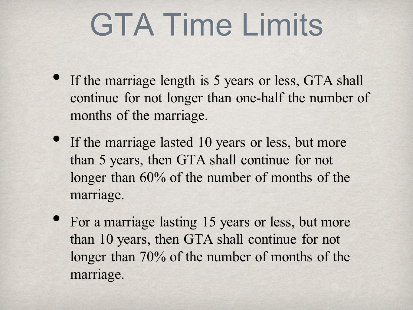 GTA Time Limits If the marriage length is 5 years or less, GTA shall continue for not longer than one-half the number of months of the marriage.