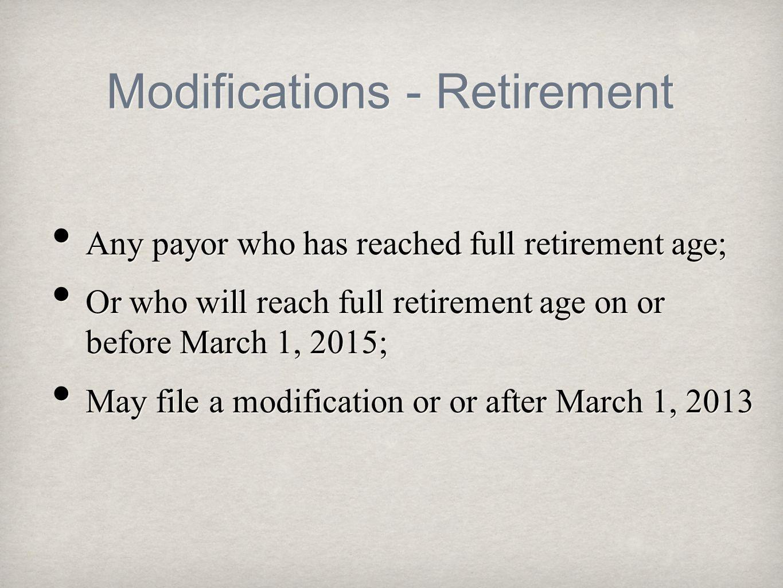 Modifications - Retirement