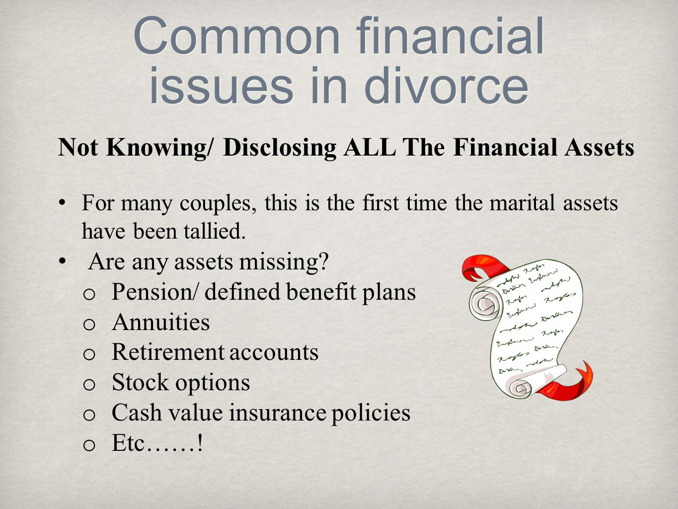 Common financial issues in divorce