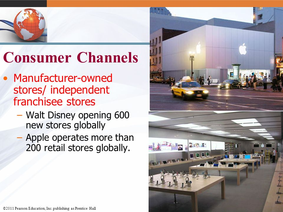 Consumer Channels Manufacturer-owned stores/ independent franchisee stores. Walt Disney opening 600 new stores globally.