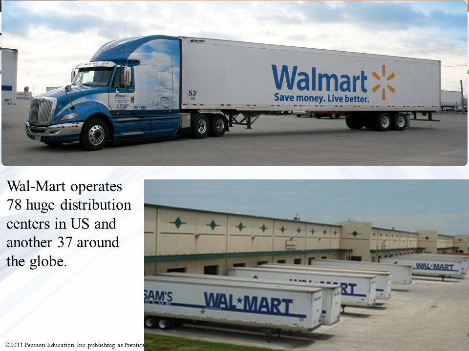 Wal-Mart operates 78 huge distribution centers in US and another 37 around the globe.
