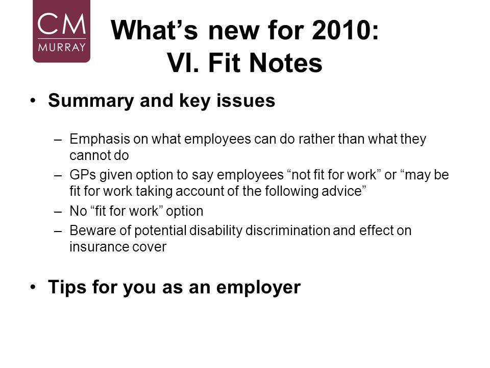 What's new for 2010: VI. Fit Notes
