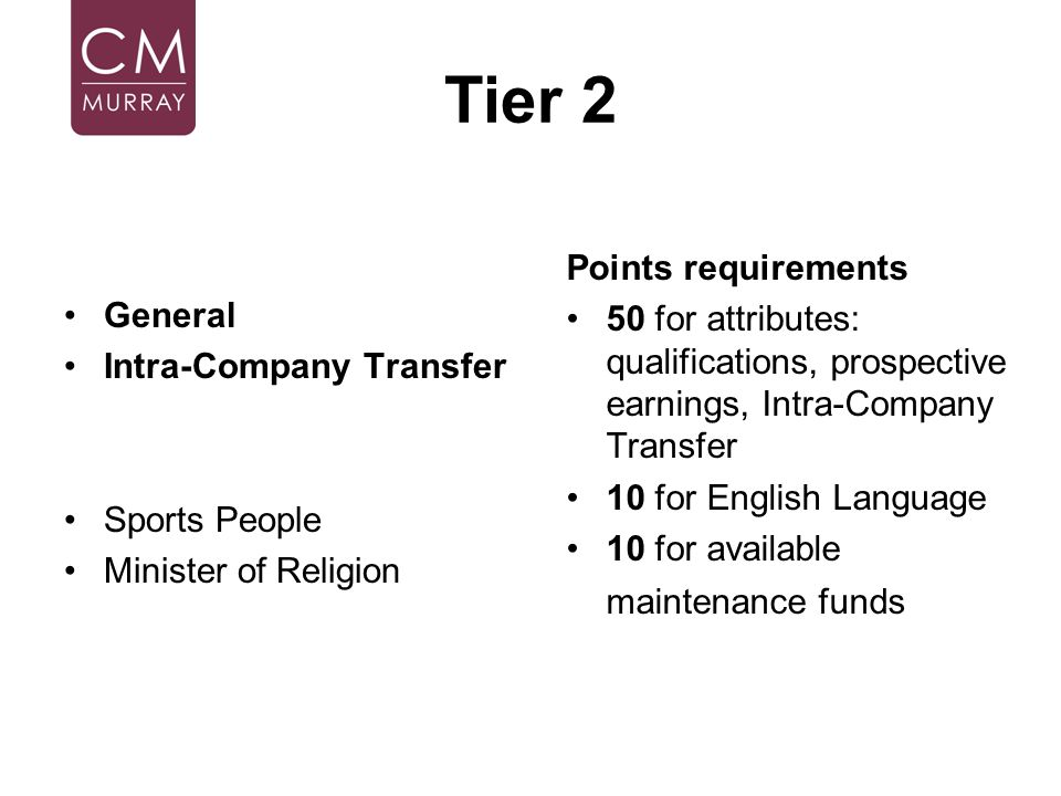 Tier 2 Points requirements General