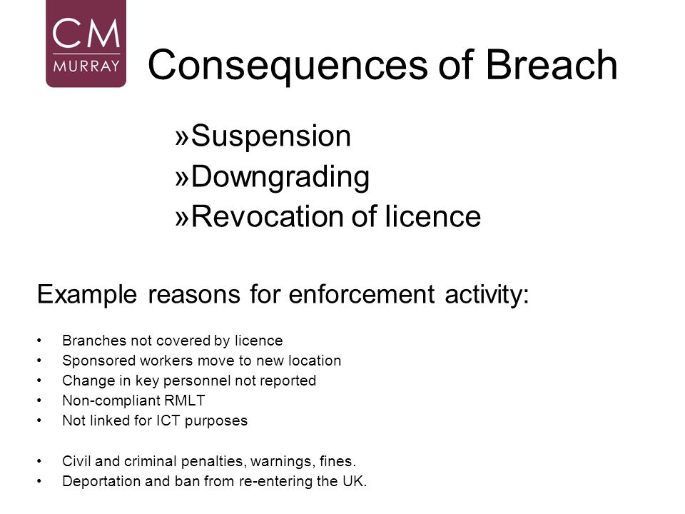 Consequences of Breach