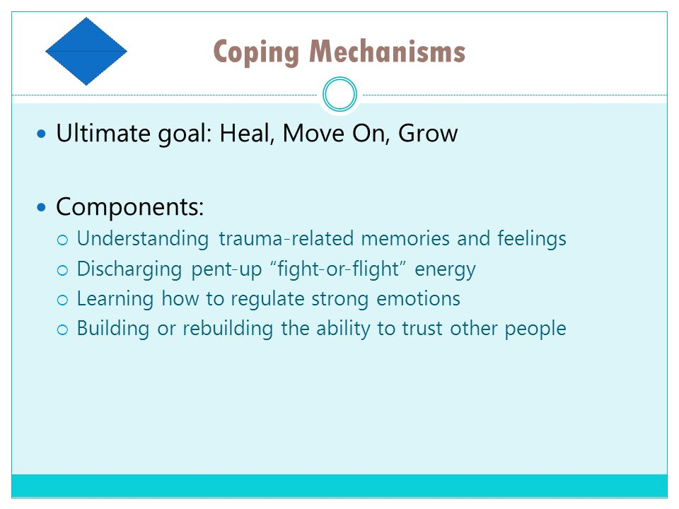 Coping Mechanisms Ultimate goal: Heal, Move On, Grow Components: