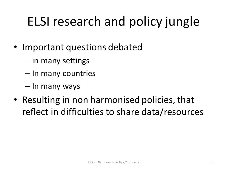 ELSI research and policy jungle