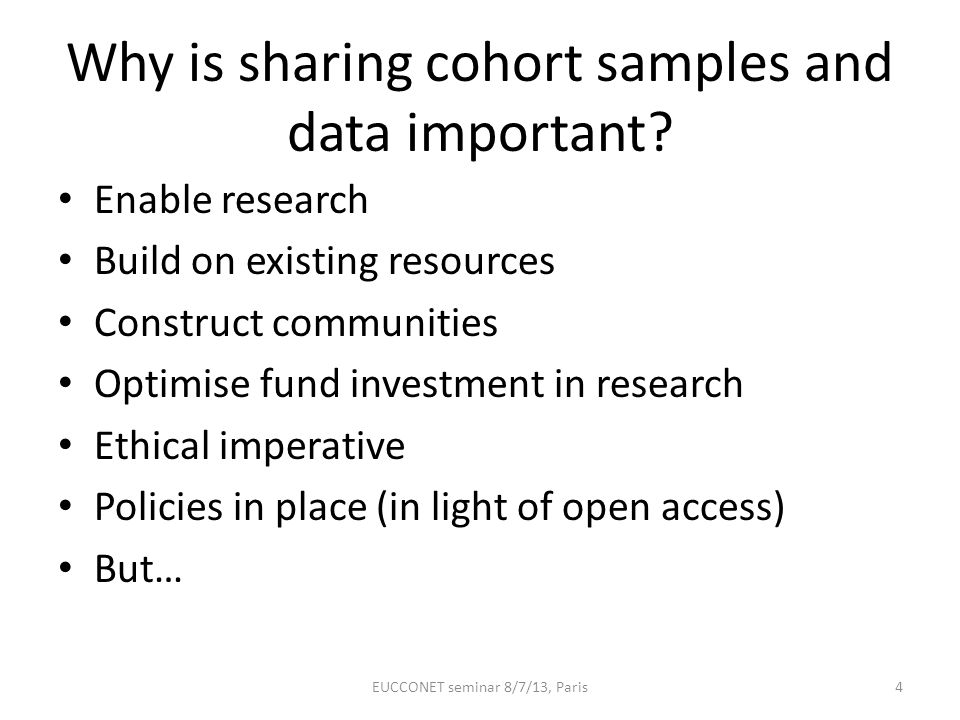 Why is sharing cohort samples and data important