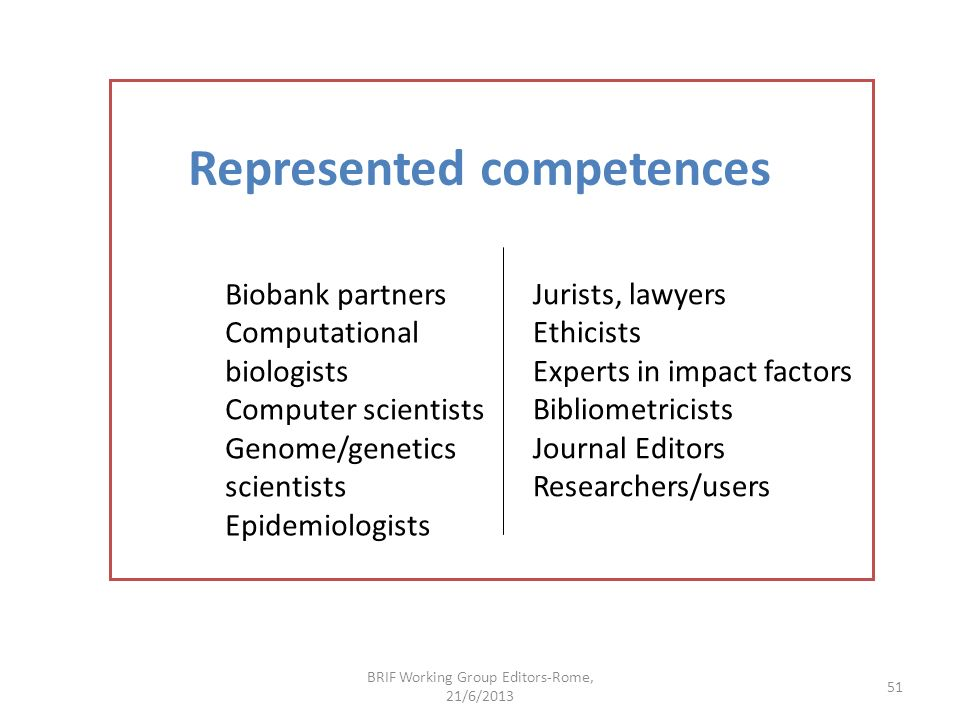 Represented competences