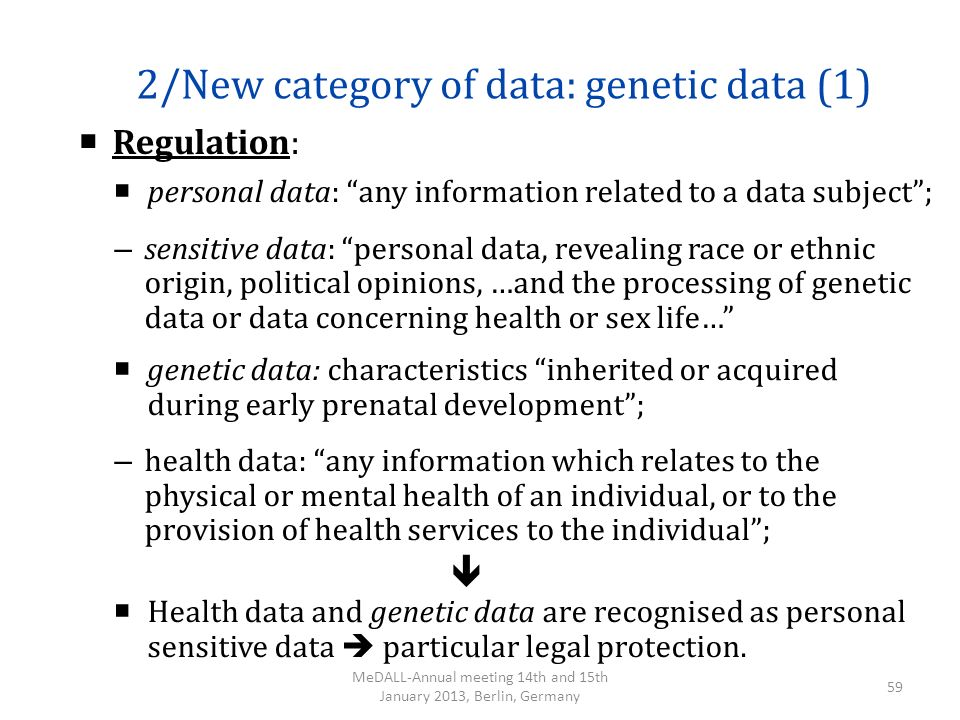 2/New category of data: genetic data (1)